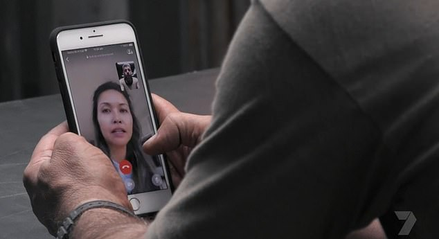 Heartache:Moments later, Manu was seen in a private room on a video call with his wife Clarissa Weerasena and their daughter Charlee, where he broke down in tears as he announced he was coming home