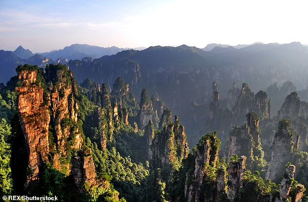 The incident happened at the national park in Zhangjiajie in Hunan Province, pictured