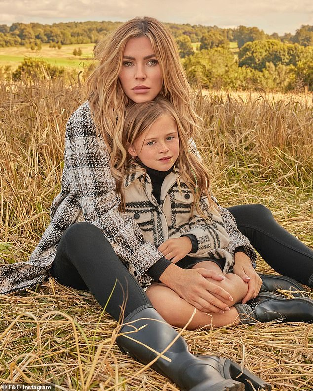 Just like mum: Abbey Clancy's daughter Liberty is following in her mother's footsteps as she starred alongside the 35-year-old in her F&F for Tesco autumn clothing campaign