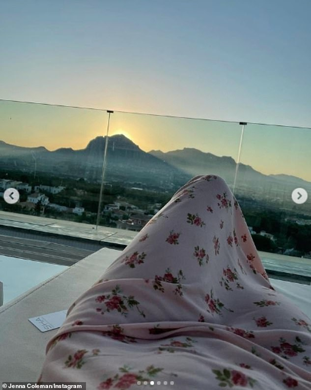 Taking care of herself: In another snap she could be seen resting on a balcony in front of a beautiful sunset in the Spanish mountains