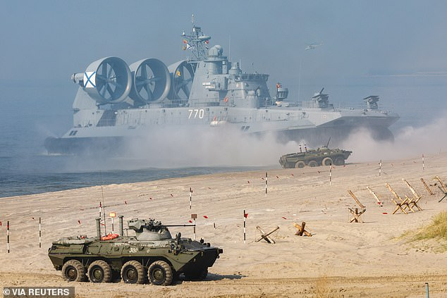Russia, Belarus and others are staging huge military exercises, which includeda beach invasion by the world's largest hovercraft (pictured)