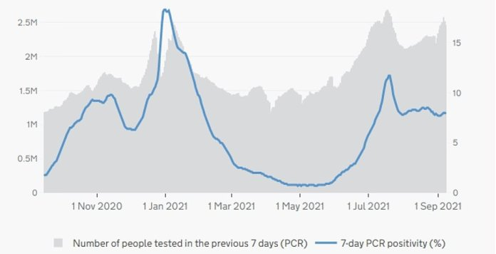 England: The graph above shows the number of PCR tests performed in England in a day (grey bars) and their positivity rate – or the percentage of swabs that detected the virus (blue line).  PCR tests have increased slightly since the return of schools