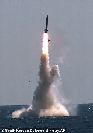 A domestically built South Korean missile fired from a 3,000-ton submarine flew a set distance before hitting a designated target