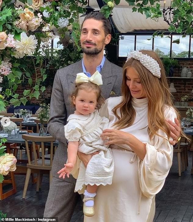 Favorite people:Sharing photos of the day on Instagram, Millie revealed she and Hugo had marked the occasion 'surrounded by our favourite people' at Soho Farmhouse