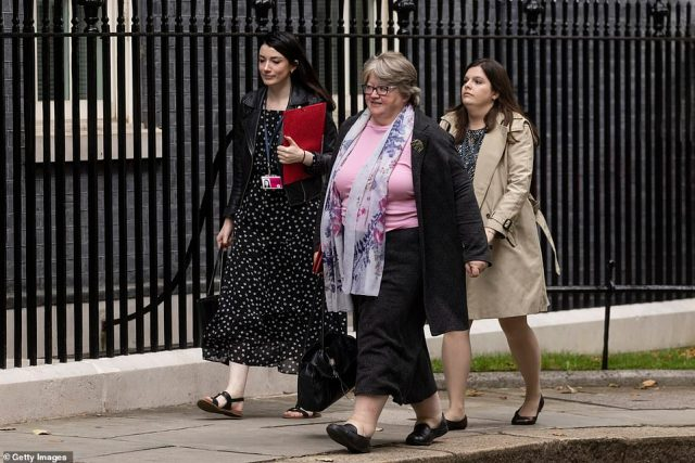 Work and Pensions Secretary Therese Coffey was in Downing Street today as the reshuffle was confirmed - but then went to the Commons to lead for the government on an Opposition Day debate, suggesting she is not on the move