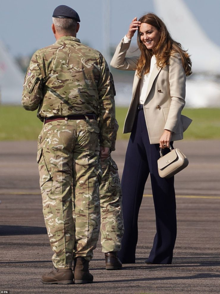 The Duchess of Cambridge arrives for a visit to RAF Brize Norton today to meet meet military personnel and civilians