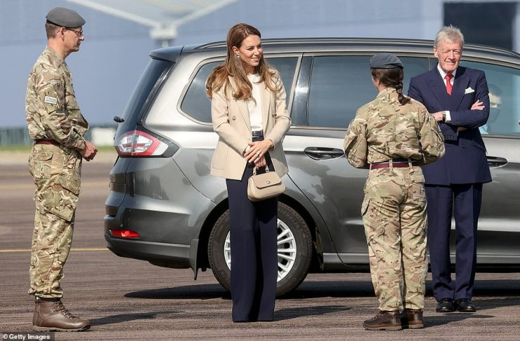 The Duchess arrives at RAF Brize Norton today to meet those are supported the UK's evacuation of civilians from Afghanistan