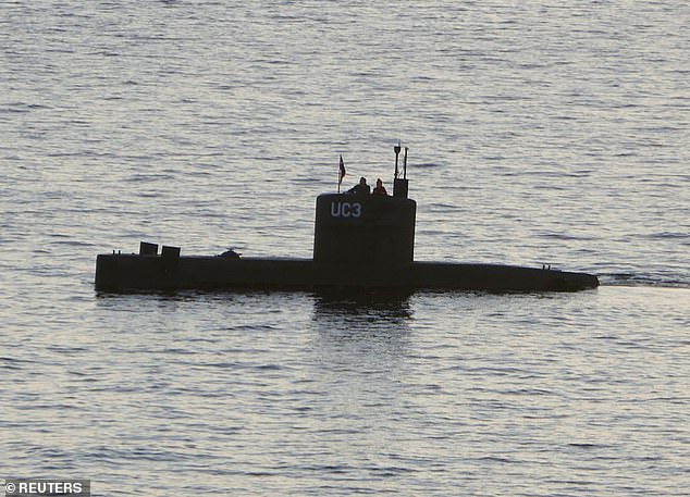 Wall's mutilated body was found days later and police divers found a weighted-down bag containing her head, other body parts and her clothes submerged in the water off Copenhagen. Pictured: Madsen's submarine, UC3 Nautilus