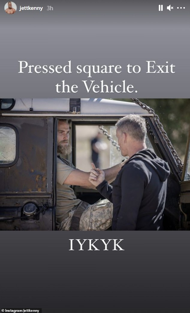 Congrats! A second photo saw Jett chatting to directing staff (DS) Mark Billingham, with the caption, 'Press square to Exit the Vehicle. IYKYK,' a reference to a video game