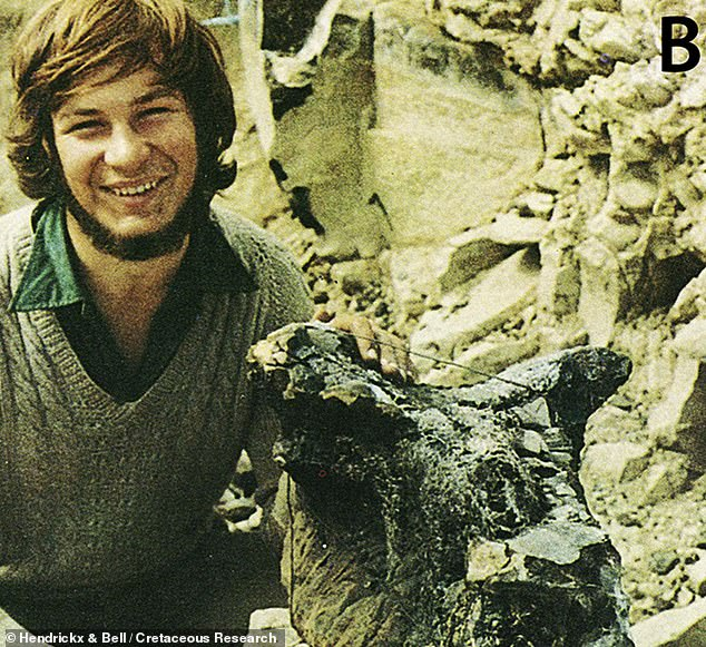Named for its horned skull, the only known specimen of Carnotaurus was found by the palaeontologist José Bonaparte back in 1984 in his home country of Argentina. Pictured: then-undergraduate student Guillermo Rougier posing next to the recently-found Carnotaurus' skull