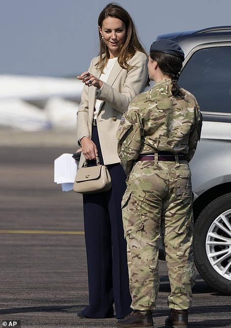 The Duchess of Cambridge meets military personnel today