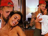 Jake Paul covers his girlfriend Julia Rose's modesty as they both go topless for a mirror selfie