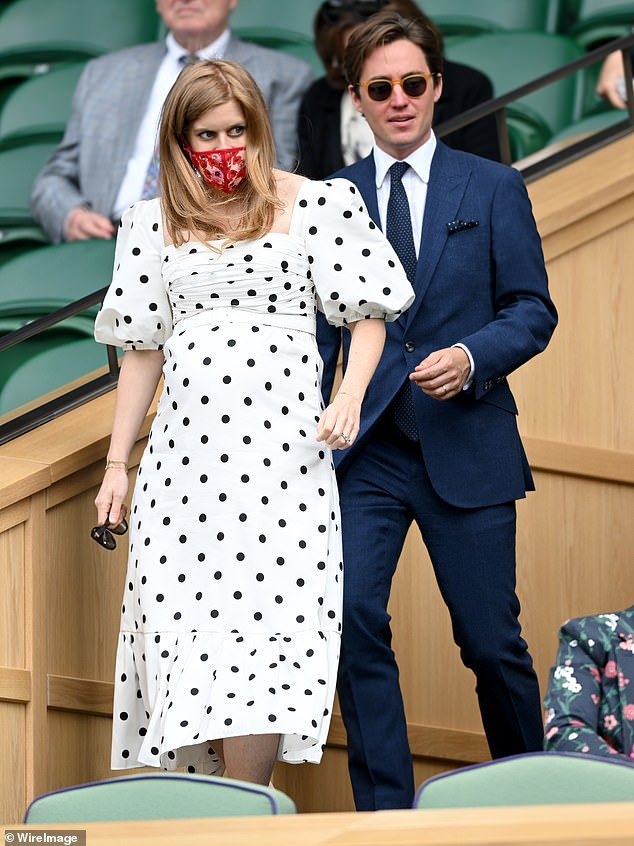 Beatrice tied the knot with Edo in September 2020 and the couple are expecting a child together later this year. The couple are pictured attending Wimbledon together this year