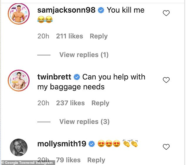 Funny: Her fellow Love Island cast mates were quick to comment on the on the hilarious caption