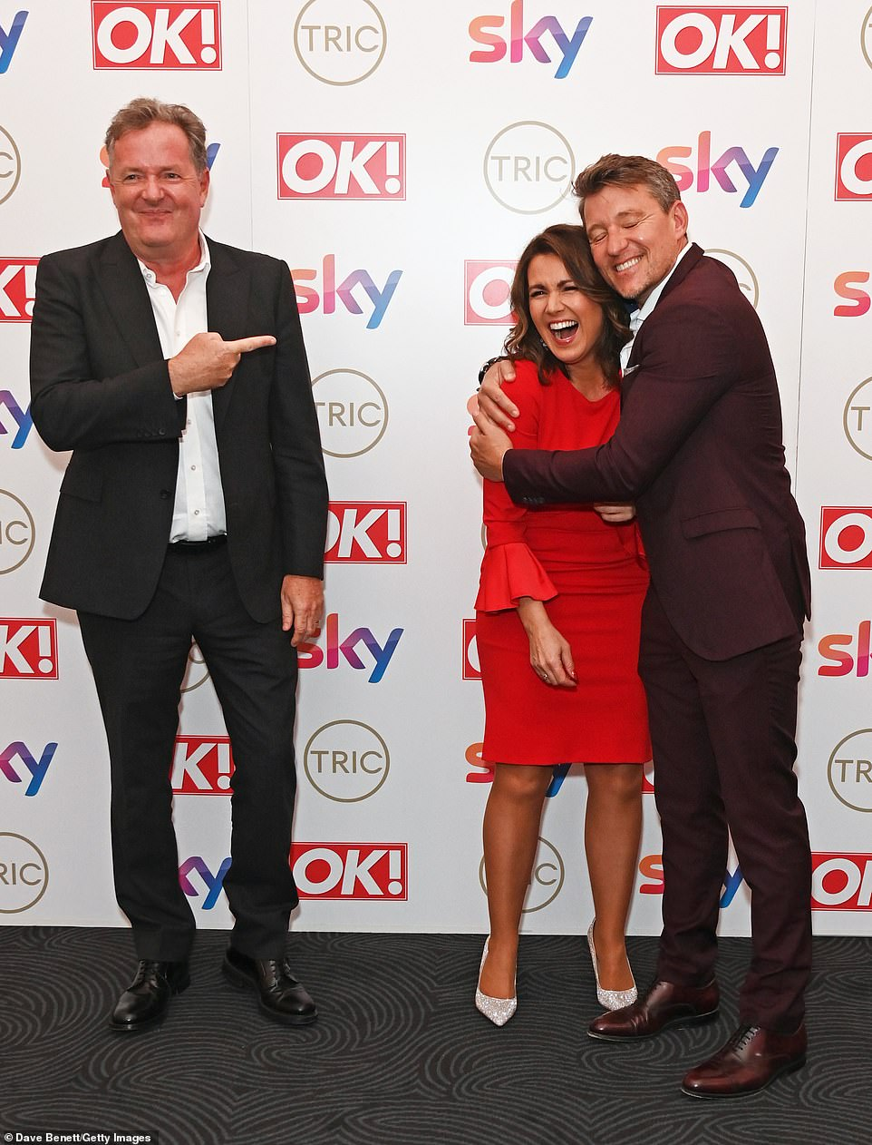 Funny: Ben Shephard, who also joined them on the red carpet, participated in the reunion