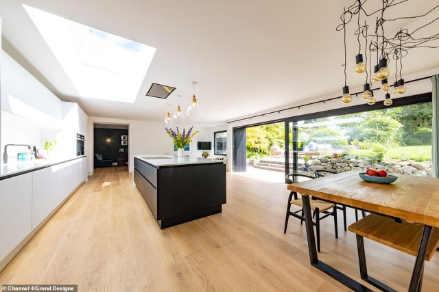 The majority of the extension in the walled garden housed a huge open plan living area with a modern kitchen and dining room for the family