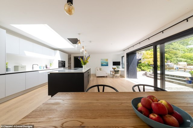 Iain and Jenny said they hoped the property would be their forever home, after spending all of their life savings on the renovation and new build (pictured, the living space)