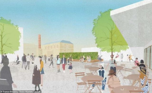 Campaigners fear that introducing a shopping centre will change Brick Lane's character and that the new office space will not be affordable to local businesses. Pictured, illustration of the proposals