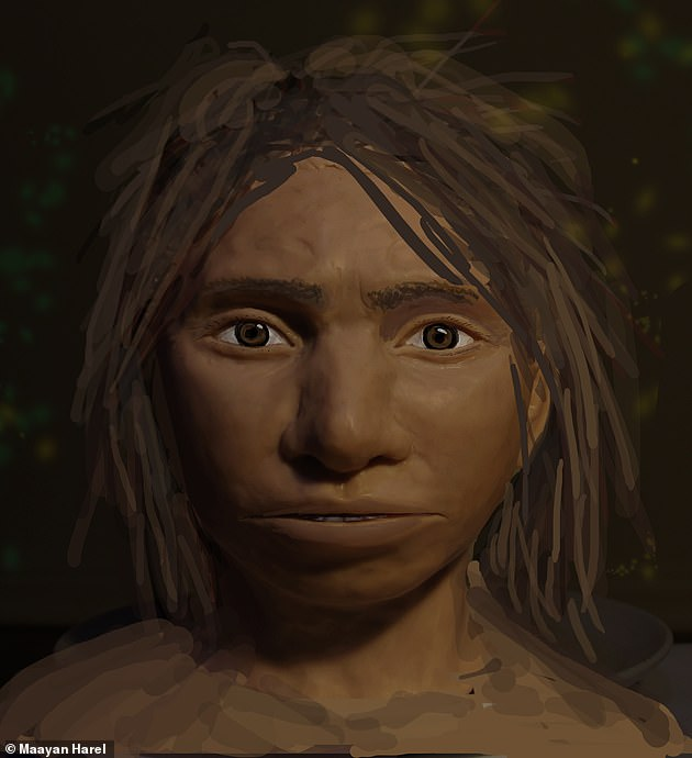 It's not certain which species of humans made the prints - but Denisovans are a fair bet, given that their skeletons are found elsewhere on the Tibetan Plateau.  Pictured: An artist's impression of a young Denisovan