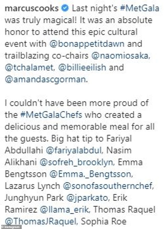 Despite the criticism, Samuelsson thanked the ten chefs he had assembled for the event