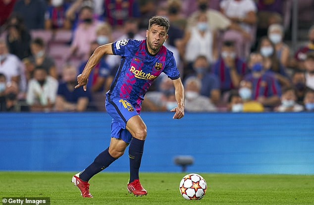 Jordi Alba (pictured) was substituted off against Bayern after picking up a hamstring injury