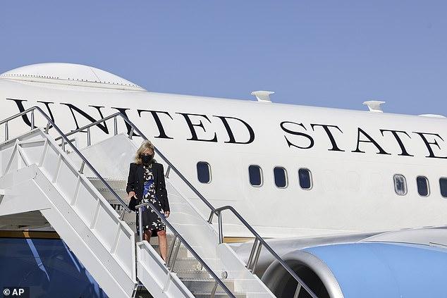 First lady Jill Biden arrives at General Mitchell International Airport in Milwaukee