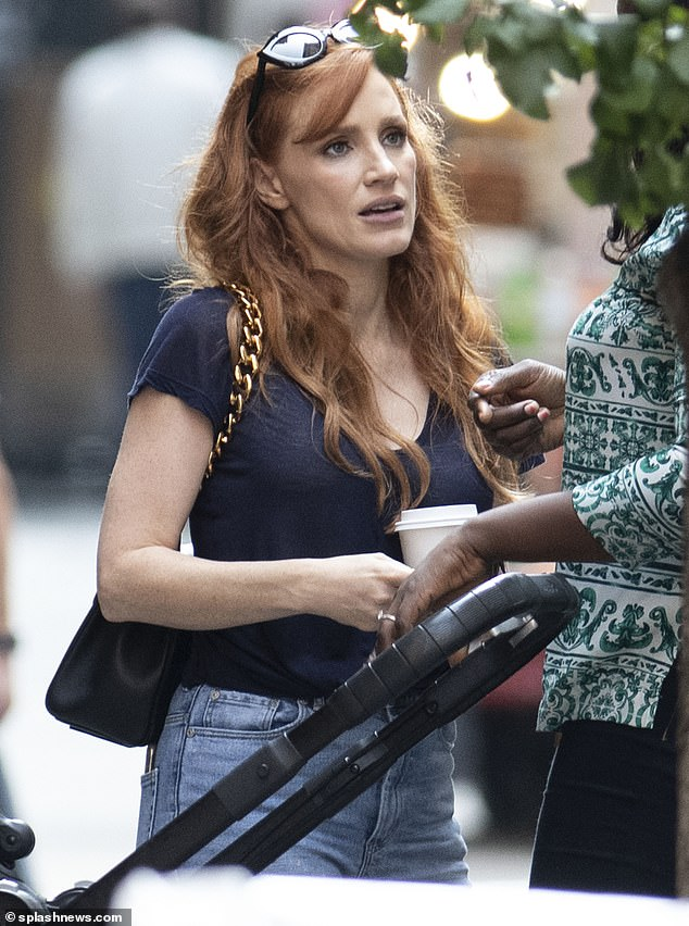 Fresh-faced:Jessica appeared to be wearing little to no makeup as she walked down the sidewalk in Manhattan