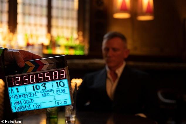 Film star: Daniel was seen on set as he filmed the advert for drinks brand Heineken ahead of the release of his last James Bond film