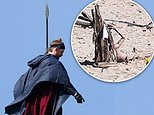 House Of The Dragon: Actor brandishes a spear as others are tied to wooden spikes