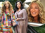 Sarah Jessica Parker is classically Carrie Bradshaw in striped ensemble to film And Just Like That