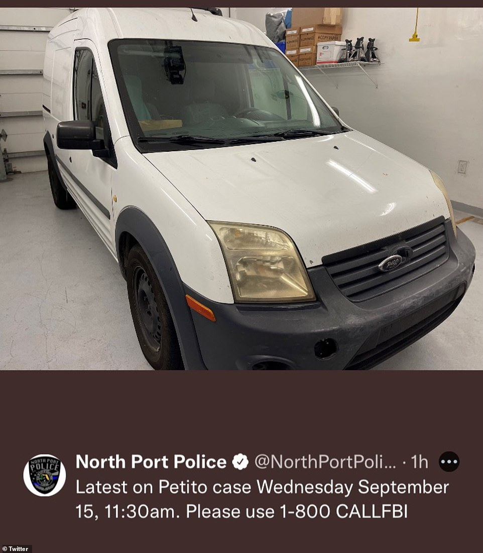 Policed released a photo of the Ford van that was seized from the Laundrie property Saturday night
