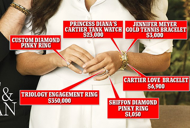Bling thing: Meghan, 39, sported a staggering $384,000 worth of jewelry on the cover - including several of her favorite pricey pieces, as well as new pinky rings from a NY brand