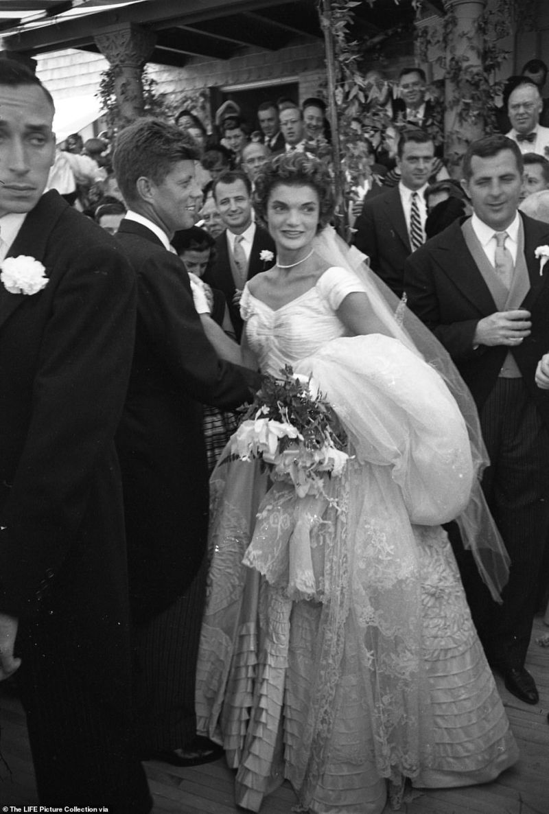 It is the same house where John F. Kennedy honeymooned after his wedding to Jacqueline Kennedy in 1953. The future president and first lady are seen above after their wedding in Rhode Island in September 1953