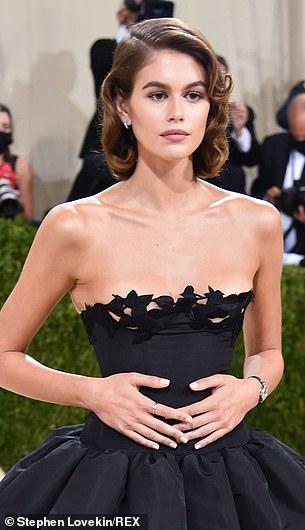 Model Kaia Gerber in Oscar de la Renta at the 2021 Met Gala