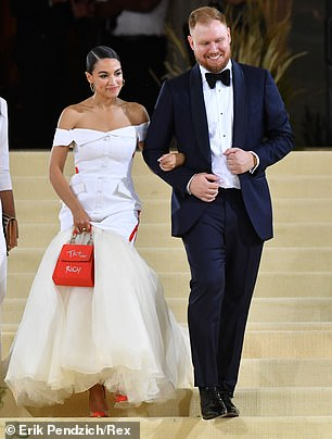 AOC is seen with her date, boyfriend Riley Roberts