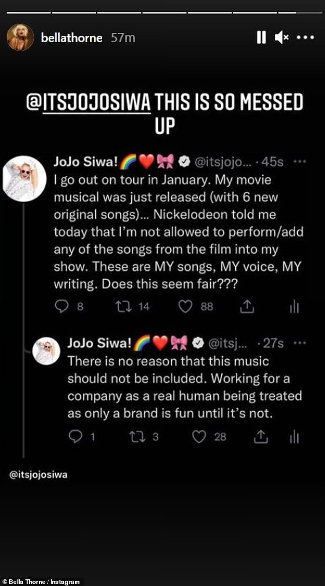 Speaking out:Bella Thorne expressed her dismay over the situation, reposting JoJo's Tweets on her story and writing, 'This is so messed up'