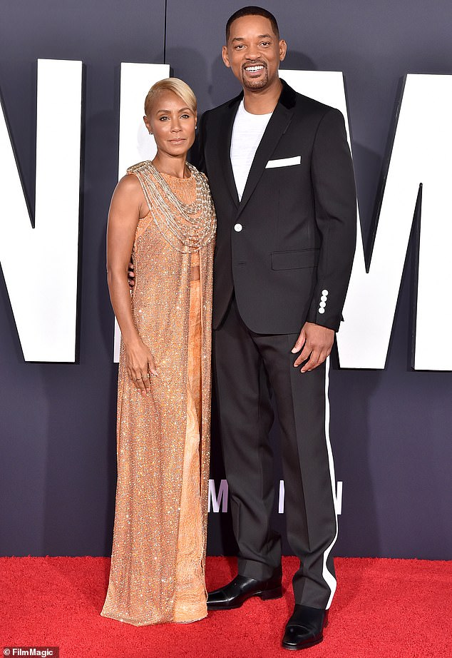 Encouraging partner: In the candid discourse the mother-of-two led the chat about the unconventional hairstyle and added that her husband Will Smith, 52, is supportive of her bold look; seen in 2019