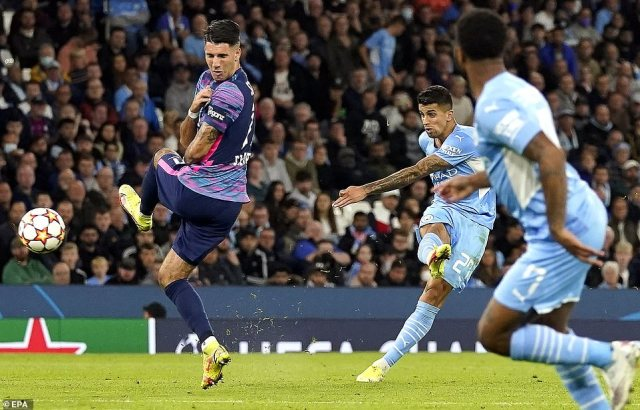 Joao Cancelo made it 5-3 to City almost immediately after Leipzig's third to put another nail into the German side's coffin