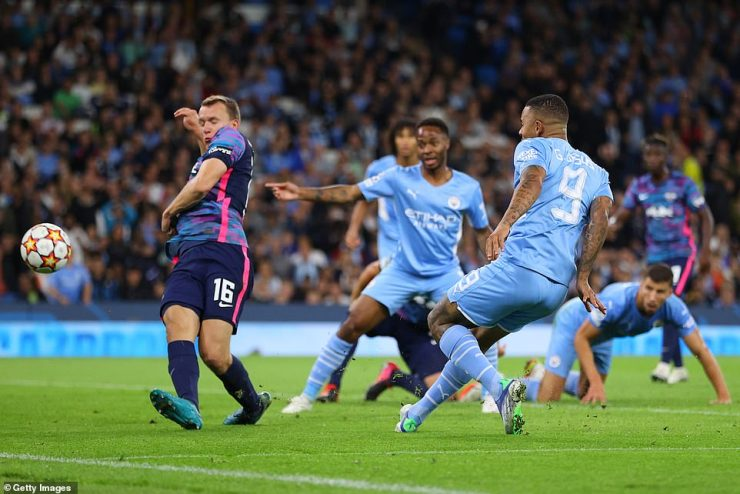 Gabriel Jesus crashed in a sixth for City from close range to seal the home side's first European three points of the season