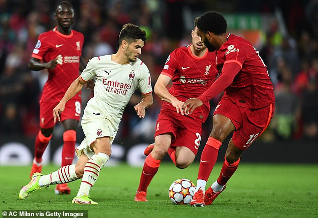 Gomez (right) barely put a foot wrong as Liverpool started well, but things changed quickly