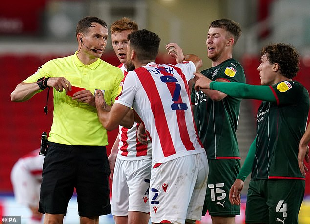Tommy Smith was shown a late red card, adding to a disappointing night for Stoke City