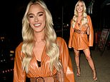 Love Island star Lillie Haynes flaunts her endless pins in a leather belted blazer dress