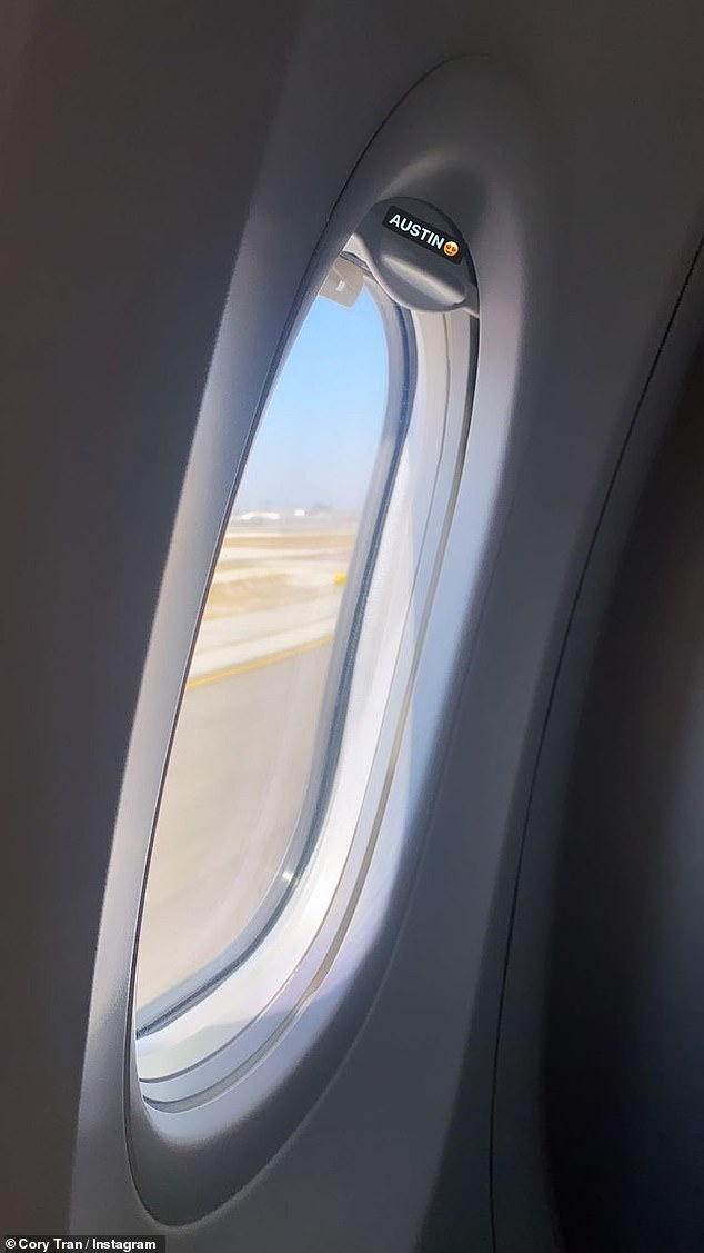 Taking a trip:Later the dad-to-be posted a photo of an airplane window with a view of a tarmac