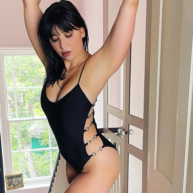 Model Daisy Lowe poses in a Gucci by Tom Ford swimsuit, which has just been acquired by a museum