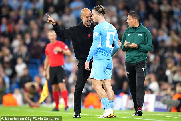 The ManCity boss was seen arguing with the attackers during his side's big win over RB Leipzig