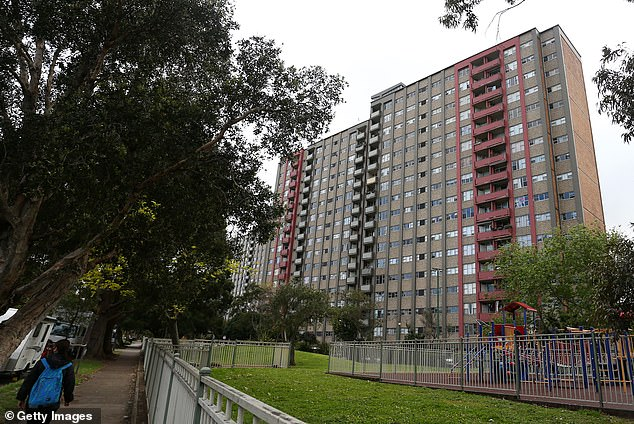 The notorious public housing estate at 57 Morehead Street, Redfern, has been shut down and residents ordered to remain inside after a new Covid cluster emerged there sparking fears it is 'riddled' with the virus