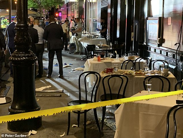 Police said a 28-year-old male was dinning outside Philippe Chow when an armed man stepped up to his table shortly after 10pm and demanded his watch and shot him in the leg during a struggle for the gun. Another patron was robbed of his Rolex