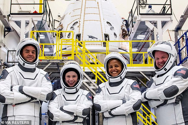 The Inspiration 4 crew, the first all-civilian crew to fly in space, side-by-side as they prepare to make their historic voyage into space