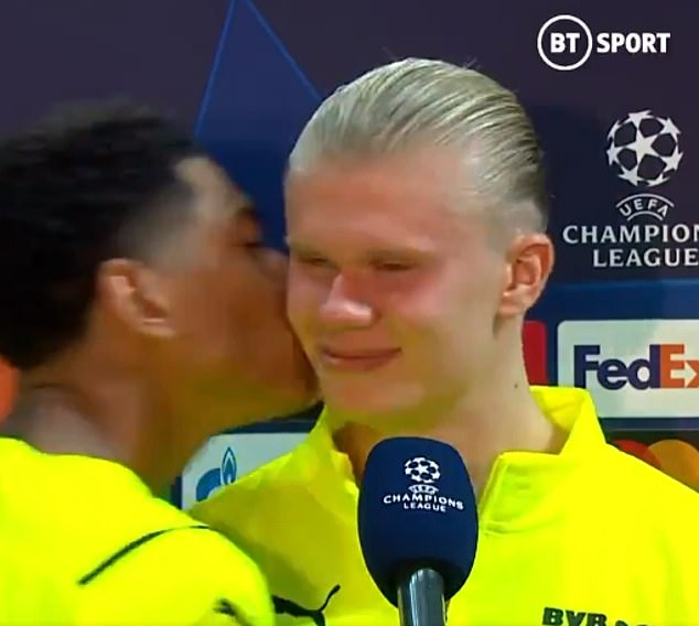 Jude Bellingham gave Erling Haaland a kiss on the cheek during a post-match interview