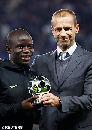 Kante was named the UEFA Midfielder of the Year and picked up the award on Tuesday night